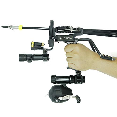 HBG Fishing Slingshot Kit Hunting Outdoor Catapult Wrist High Velocity Fishing Arrows Sling Bow Professional Adjustable Shooting Archery Arrows with Rubber Bands,Arrow Brush,Fishing Reel,Flashlight