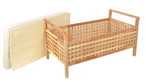 ts-ideen Sitzbank aus massivem Walnuss Holz mit Polster Badmöbel Wäschekorb Truhe - 2