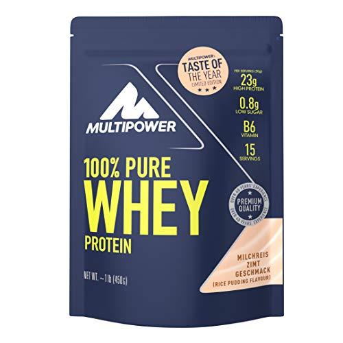 Multipower 100{948504cc42a95dc2bbf6303c02ae370e45dba50bbee5ae1f03d0ee4572c2ecdb} Pure Whey Protein - wasserlösliches Proteinpulver mit Milchreis Zimt Geschmack, 450 g