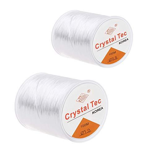 KINDPMA 200M Elastische Schnur 1mm 0.8mm Schmuckfaden Gummiband für Armbänder Gummifaden Transparent Perlenschnur Elastischer Faden für Armband Ketten Perlen Basteln