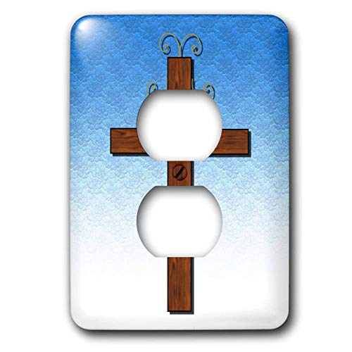 3dRose lsp_27410_6 Simple wooden cross on a blue gradient and lace background Outlet Cover, Multi-Color