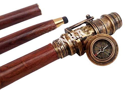Nuevo latón Brújula mango Bastón Vintage madera de longitud completa plegable Bastón antiguo latón telescopio en mango Bastones Accesorios 🔥
