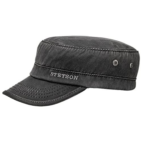 STETSON Casquette Datto Winter Army Homme - de Militaire pour avec visière, Doublure, fermé à l'arrière, Doublure Automne-Hiver - L (58-59 cm) Noir