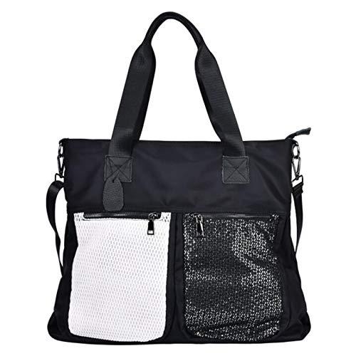 ZHANJIN Bolso de Hombro Versión Coreana de la Bolsa de Malla Hit Color Casual Bag Amplio Strap Strap Strap Messenger Bag,Black/White