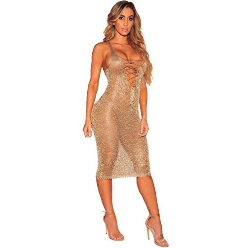 TUDUZ Damen Bodycon Camouflage Gaze Durchsichtig Sheer Kleider Abendkleid Pailletten Partykleid (Gold -A, XL)