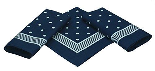 Betz 3er Pack Nickituch Bandana Kopftuch Halstuch klassischem Punktemuster Größe 55 x 55cm 100% Baumwolle Farbe: marine