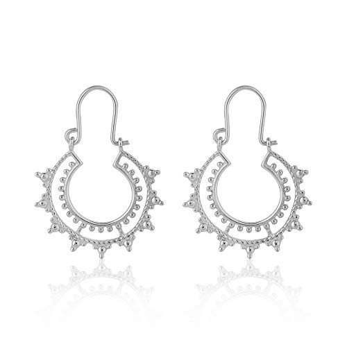 Vanbelle Rhodium Plated & High Polished 925 Sterling Silver Crescent Bali Hoop Earrings for Women and Girls
