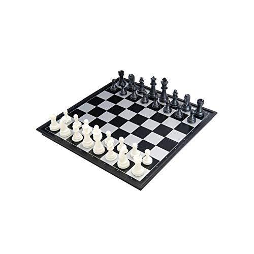 HAOT Ajedrez Internacional, Juego de ajedrez Plegable magnético en Blanco y Negro, ajedrez portátil para niños Adultos Que enseña ajedrez de enseñanza (Negro, 32x32x2 cm) (Color: Negro, tamaño: 3