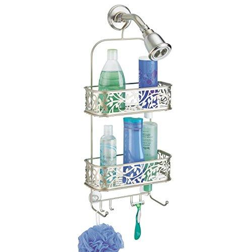 mDesign Dusch Hängeregal – Duschablage ohne Bohren – Duschkorb mit 2 Ebenen und Haken für Rasierer und Waschlappen – satiniert