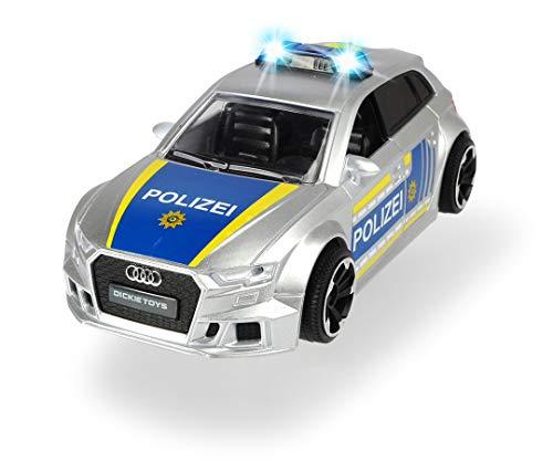 Dickie Toys- Audi RS3 RS3-Coche de policía con Accesorios y Bloqueo de Carretera, luz y Sonido, Incluye Pilas, Escala 1:32, 15 cm, a Partir de 3 años, Color Plateado/Azul (203713011)
