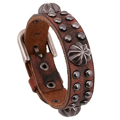 ACEACE Punk Fashion Gothic Bracelet Belty Retro Metal Remache Charm Black Brown Brazalete Brazalete de Cuero Wrap Muñeciones Hippie Vintage Joyería (Metal Color : Brown)