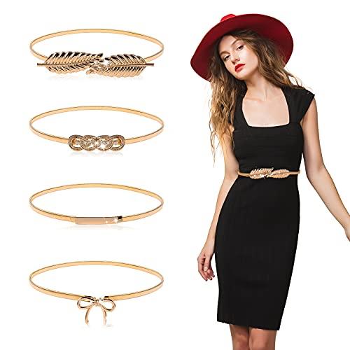 4 Pieces Women Skinny Metal Elastic Waist Belt For Dress Ladies Stretch Waist Wedding Chain Bridal Belt (Gold)