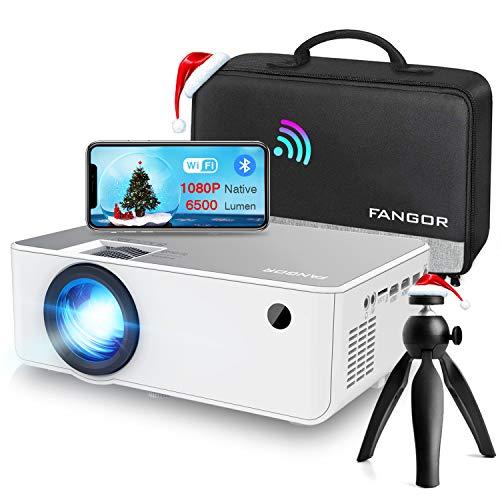 Proyector WiFi FANGOR 1080P Nativo HD Proyector Vídeo 6500 Lumens portátil Bluetooth Proyector Cine en casa Proyector Compatible con TV Stick, HDMI, VGA, USB, Laptop, iPhone / teléfono Android