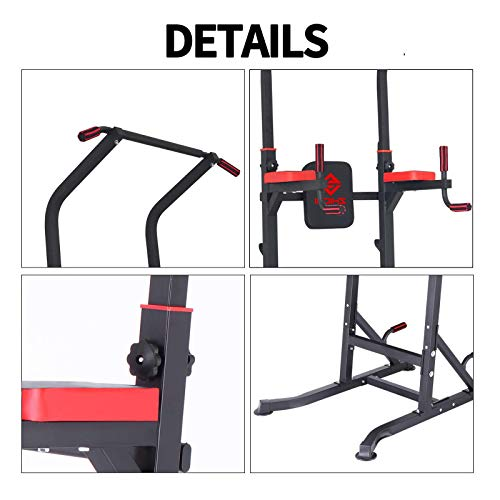 Power Tower Dip Station with Bench - Home/Gym Pull-Up Bar for Calisthenics, Strength Training, Parallette Exercise, Fitness, Workout, Adjustable Height Heavy Duty Dip Station Stand Body Press Bar