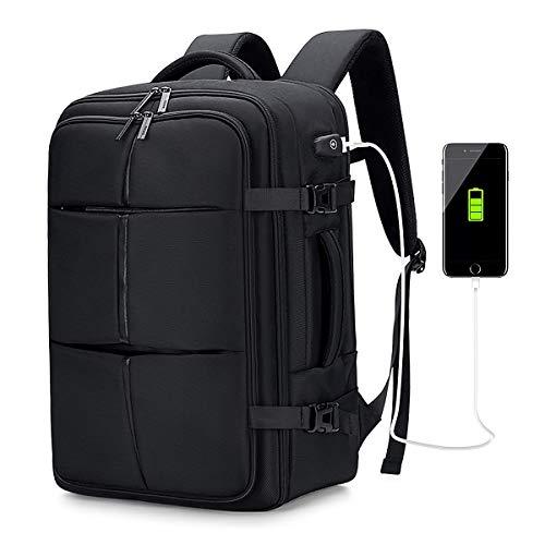 Handgepäck Reiserucksack Laptop Rucksack Herren, Wasserdichter Laptop-Wochenendrucksack für 17,3-Zoll-Laptops, Schulrucksack Business Multifunktion mit USB, Handgepäck Flugzeug Rucksack