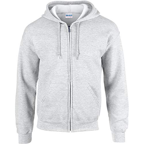 Gildan Heavy Blend Unisex Adult Full Zip Hooded Sweatshirt Top (L) (Ash)