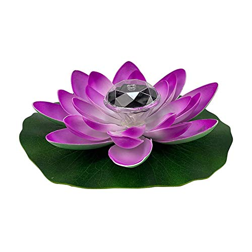 LED Waterproof Floating Lotus Light,Solar Lotus Lamp Battery Operated 7 Color-Changing Lily Flower Light For Party Centerpieces, Ponds, Pools, Fish Tank (Color : Purple)