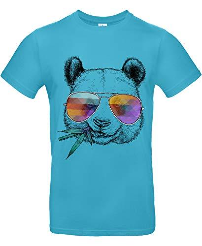 Smilo & Bron Herren T-Shirt mit Motiv Cool Panda Bedruckt Türkis Swimming Pool L