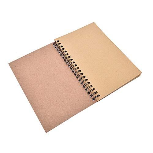Super1798 - Cuaderno de dibujo en espiral retro, papel en blanco, cuaderno de graffiti para escuela, oficina, papelería