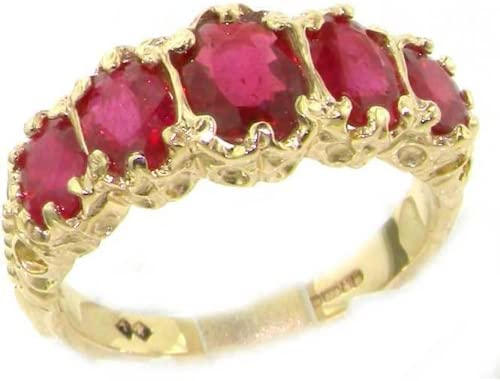 LetsBuyGold 14k Yellow Gold Real Genuine Ruby Womens Band Ring