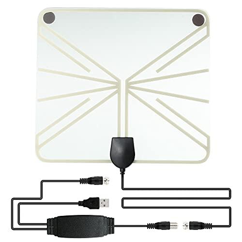Mungowu Antena de TV para Interiores la Antena de TV Digital de Alta DefinicióN Admite 4K 1080P + Amplificador de SeeAl Compatible con Todos los Televisores