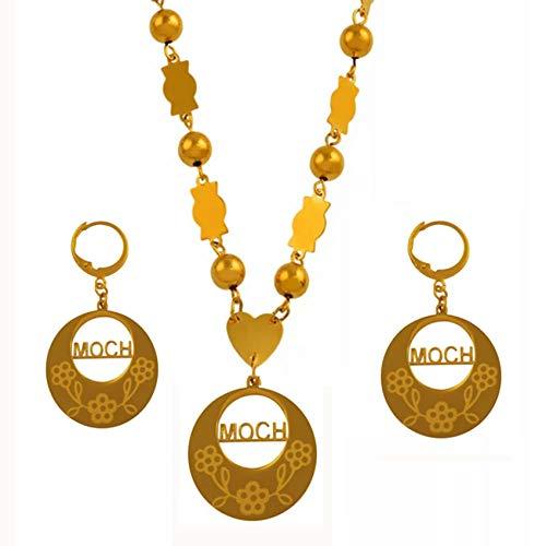 NCDFH Micronesia t Collares Pendientes para Mujer Cuentas Conjuntos de Joyas Color Dorado Moda Joyería de Cuentas Regalos # J0076 Cuentas Verdes 60cm