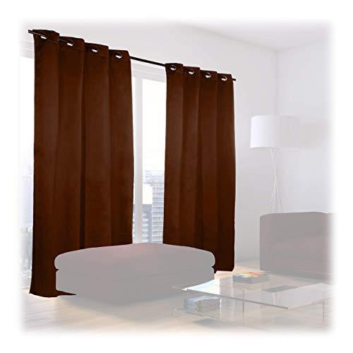 Relaxdays Verdunklungsvorhänge mit Ösen, 2er-Set, einfarbig, waschbar, HBT: 245 x 135 x 0,5 cm, schokobraun