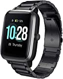 SkyBand Correas Compatible para LIFEBEE ID205L, Metalica Acero Moda Correas Compatible para Reloj Inteligente willful SW021/ YAMAY SW021/LIFEBEE ID205L (Negro)