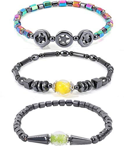 WEFRIN 2021 Hematite Magnetic Anklets for Women, Precious Natural Stones Healthy Jewelry Arthritis Carpal Tunnel Cylindrical Bead Anklet Set (3Pcs)