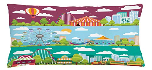 ABAKUHAUS Circus Throw Pillow Cushion Cover, Conceptual City Banners with Carousels Slides and Swings Ferris Wheel Attraction, Decorative Square Accent Pillow Case, 36 X 16 Inches, Multicolor