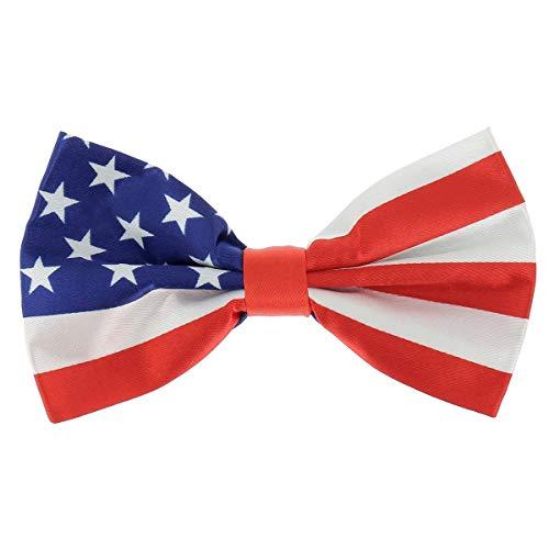 SHIPITNOW Papillon Bandiera Americana - Bandiera Stars and Stripes USA - Papillon da Uomo Originale Blu, Rosso e Bianco