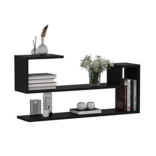 HOMIDEA Wave Mensola da Muro - Mensola Parete - Mensola Libreria - Scaffale pensile per Studio/Soggiorno in Design Moderno (Nero)