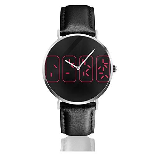 Unisex Business Casual Predator Countdown Time to Get to The Chopper Uhren Quarz Leder Uhr mit schwarzem Lederband für Männer und Frauen Junge Kollektion Geschenk