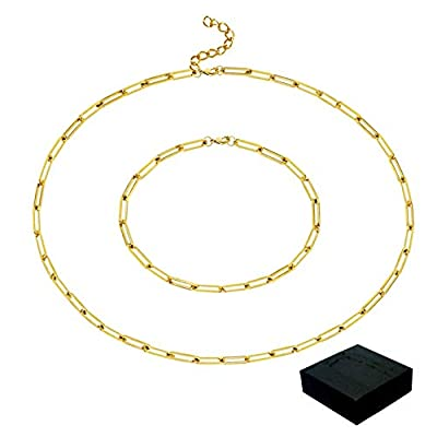 Jmkcoz 14K Gold Plated Dainty Paperclip Link Chain Necklace Bracelet, Delicate Paperclip Choker Necklace Bracelet with Box for Women Girls