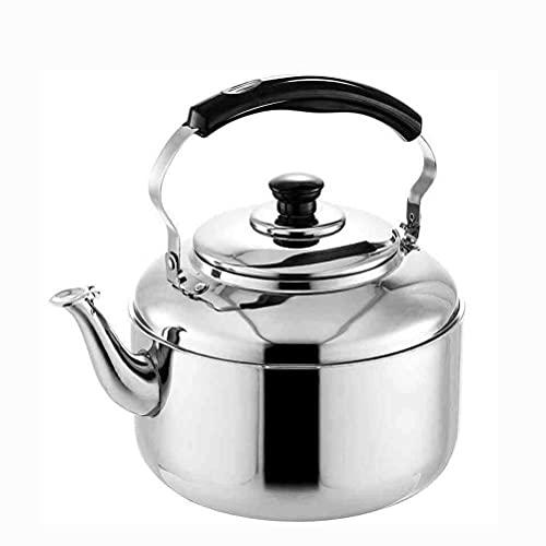 Peakfeng Tetera de Acero Inoxidable Whistle 4 6L Hervidor, Proceso de Pulido Exquisito, diseño ergonómico, Adecuado para Cocina y Sala de Estar (Color : Silver, Size : 4L)