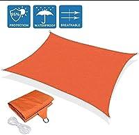DJZYB アンチUVサンシェイドセイル長方形防水パティオサンシェイドセイルキャノピーポリエステル100%[PES] 5色と10のサイズ(カラー、ブルー、サイズ、3x5m)、パープル、2x3m Z4Y0B8 (色 : オレンジ, サイズ : 2x2m)