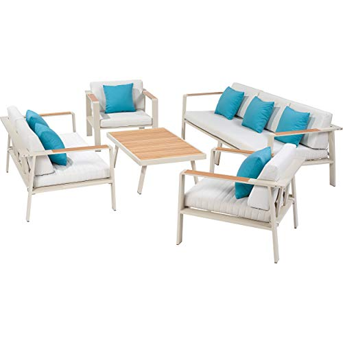 Lounge-Gruppe North Valley 5-teilig | Gartenmöbel mit Polstern aus Olefin, Gestell aus pulverbeschichtetem Aluminium und FSC®-zertifiziertem Eukalyptus-Holz Elementen