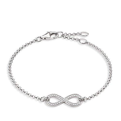 Thomas Sabo Damen-Armband Unendlichkeit 925 Sterling Silber Länge 16,5 bis 19,5 cm - A1310-051-14