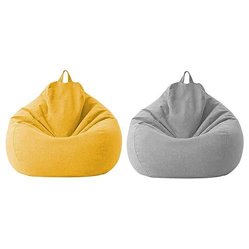 Cuasting Funda de sofá Lazy Lazy sin relleno, 2 unidades, para sofá o tatami, color amarillo y gris claro