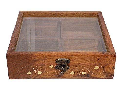 Stylla London Handwerker Deckblatt Container Box/Spice Rack mit Löffel, Holz, braun, 22x 21,5x 2,76cm