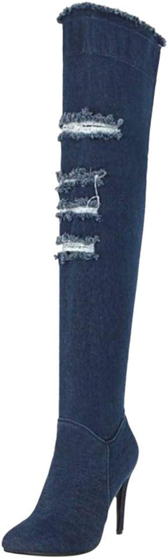 ZHRUI Damenmode Stiletto Oberschenkel Stiefel halber Reiverschluss