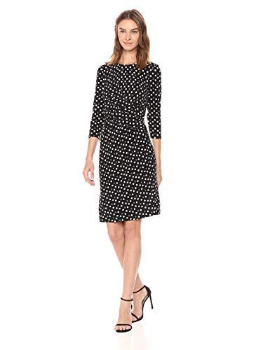 Anne Klein Women's DOT Twist Front Draped Dress, Black/Parchment Combo, 4
