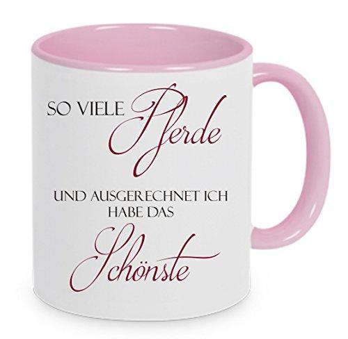 Crealuxe Kaffeetasse Pferdetasse So viele Pferde und ausgerechnet ich Habe das Schönste - Kaffeetasse mit Motiv, Bedruckte Tasse mit Sprüchen oder Bildern (rosa)