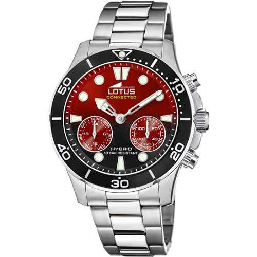 Reloj Lotus 18800/7 de la colección Connected, caja de 44,5 mm, color rojo y negro con correa de acero para hombre