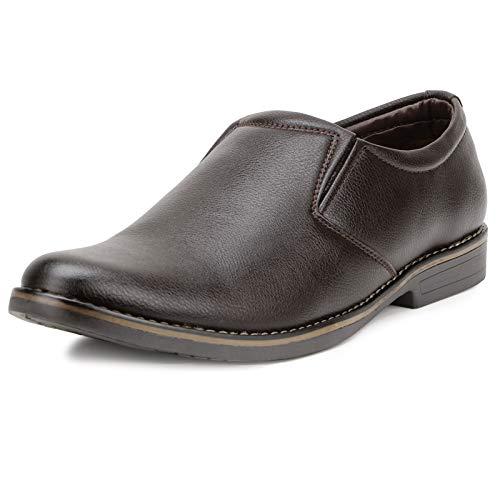 Escaro Everyday Wear Men's Brown Formal Slip On Dress Shoes (ES1036KB_Brown_6)