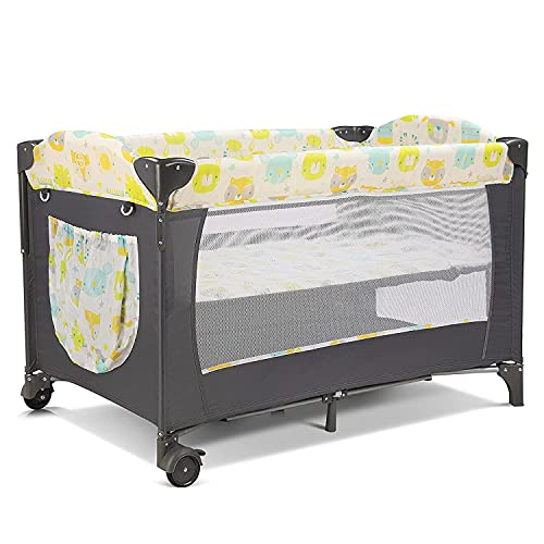 Travel Cot Baby Foldable Cot with Bed,Mosquito Net,Mattress,Changing Mat,Diaper Organizer Side Exit Loadable up to 25kg