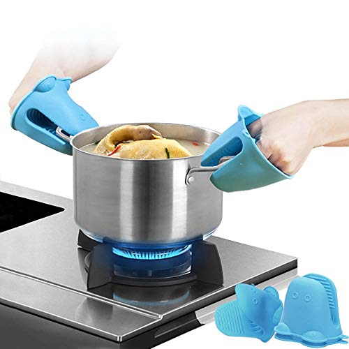 JANRON-Oven gloves Résistant à la Chaleur en Silicone Gants Four et maniques de Cuisson Cuisine Mini Gant Toilette Lot Pièces Chaleur Solution(Différentes Couleurs,2 Pcs/ 1 Set)