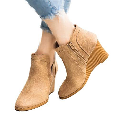 ZBYY Zapatos de cuña de plataforma para mujer, de moda, punta redonda, para el tobillo, de chelsea, de tacón grueso, de cuña - verde - 38