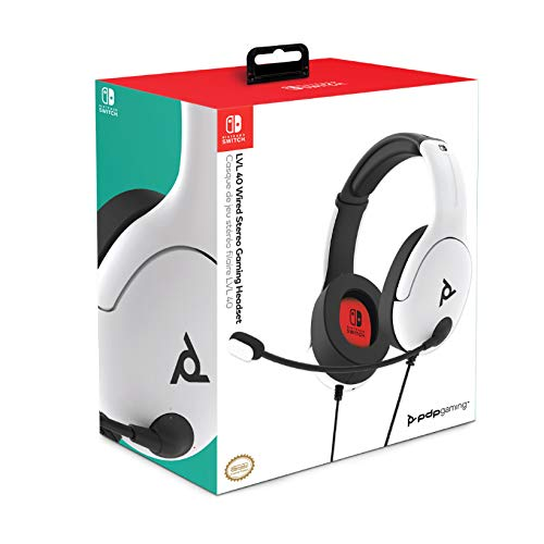 PDP - Auricular Stereo Gaming LVL40 con Cable, Blanco (Nintendo ...