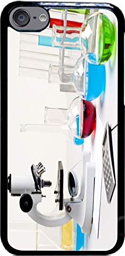 Black Case Cover for iPod 6 (6th Generation ONLY) Case Cover - Microscope in Lab with Glass Test Tubes Mult Color